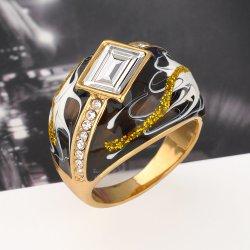 New Item Black Enamel Rhinstone Crystal Gold Statement Ring