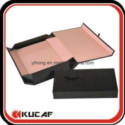Custom Print Paper Cardboard Flat Folding Black Magnetic Gift Box with Ribbon