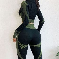 High Quality Long Sleeve Yoga Active Wear Workout Fitness Wear Zip Gym Sport Clothing Set for Women