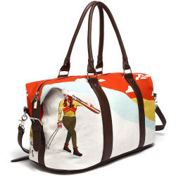 Newest Design PU Leather Digital Printing Canvas Ladies Sport Travel Bag (CF-1804)