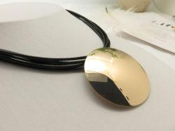 Black Cord PU Wraps Short Pendant Necklace Accessories for Women