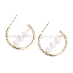 S925 Sterling Silver European Fashion Geometric White Shell Pearls Ear Hook Stud Earrings Silver Jewelry