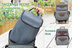 Insulated Picnic Backpack Bag for 4, Hiking & Camping Back Pack Set with Separated Cooler Tote Win Picnic Bag, Movable Dinner Set Carrier, Plates