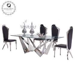9ba3916893fd Dining Furniture Glass Table Mirror Stainless Steel Base Dining Table Set