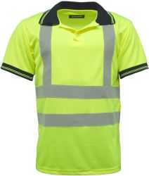 Custom Printed Fluorescent Green Short Sleeve Men's safety Polo Shirt