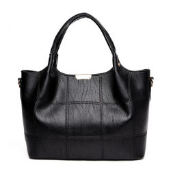 Simple Style Stitching Bags PU Leather Ladies Shoulder Bags Handbags