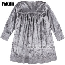 Factory Customised Children Apparel Pink Floral Pattern Baby Smocked Velvet Dress for Baby Girls Clothes