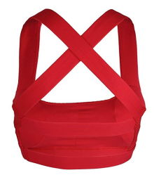 Red Color Cross Stripe Yoga Sports Bra for Women