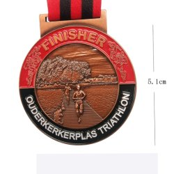 Factory Cheap Custom Design Your Own Zinc Alloy 3D Antique Brass Metal Award Marathon Running Sport Medal for Promotional Gift