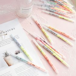 6189 Double Head Fluorescent Pen with 24 Colors and Round Handle Makes It Comfortable to Hold The Pen