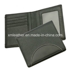 Leather ID Window Bifold Business Men Wallet with Logo