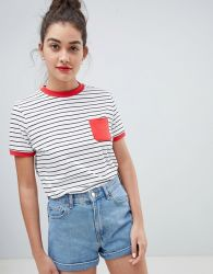 0d3cc9e5a7f4f3 Women s Striped Short Sleeves with Red Pocket T Shirt