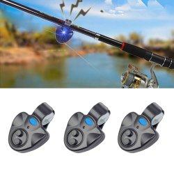 Fishing Electronic LED Light Fish Bite Sound Alarm Bell Clip on Fishing Rod Black Blue