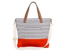Ladies Stripe Canvas Beach Shoulder Shopping Reuseable Handbags Tote Bag