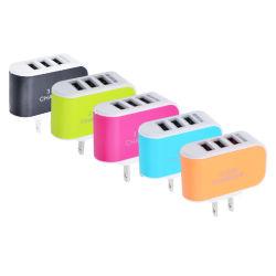3 Port LED Light Smart Candy Color Mobile Phone Travel USB Charger