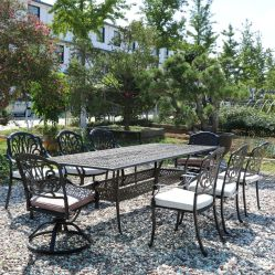 Cast Aluminum Outdoor Furniture Table And Arm Chairs Gerdan Furniture