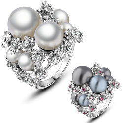 Bridal Accessories White Gold Crystal Pearl Wedding Ring for Women