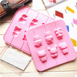 6 Miffy Lollipop Top and Bottom Food Rubber Cake Mold for Birthday Party