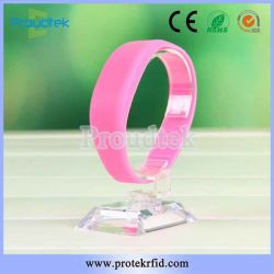 RFID Flat Silicone F08 Chip Wristband Waterproof Rubber Bracelet for Fitness Club and Sports Park