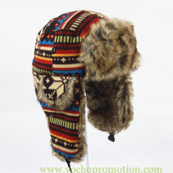 60dc72ad3282a 100% Acrylic Jacquard Knitted Winter Warm Hat Ushanka Russian Trapper Hat