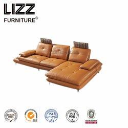 Yellow L Backrest Adjustment Leather Sofa