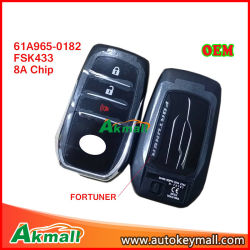 61A965-0182 Toyota Fortuner Fsk 433MHz 3 Buttons Smart Key Remote Key Fob 8A Chip