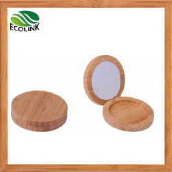 Bamboo Powder Compact Powder Box with Mirror