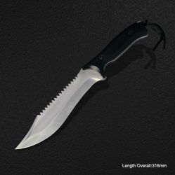 Fixed-Blade Knife with Wooden Handle (#3781)