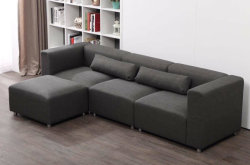 Fancy Sectional Fabric Corner Sofa Couch Set With Ottoman