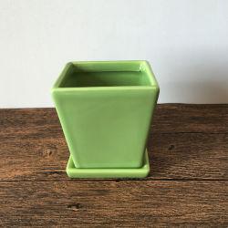 Shiny White Oblique Square Ceramic Pot for Flower