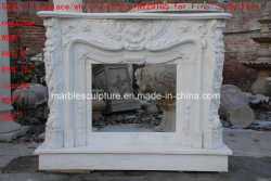 White Marble Fireplace Surround Flower Mantel (SY-MF019)