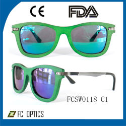 Custom UV400 Brown Polarized Wooden Sunglasses for Wholesale