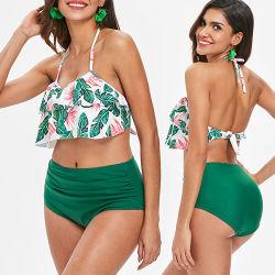 f0fb3d18b4bb8 2019 Wholesale Ladies Sexy Brazilian Ruffle High-Waisted Bikini Swimsuit