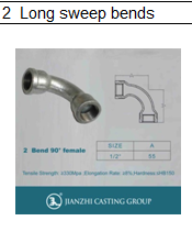 Galvanized Malleable Iron Pipe Fitting M&F Long Sweep Bends