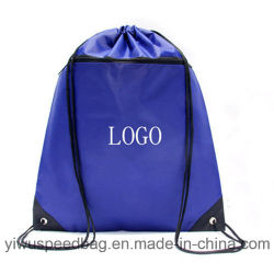 Promotional Polyester Gym Sport Drawstring Backpack Gift Bag with Pockets