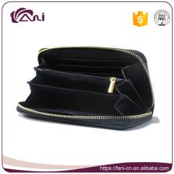 Black Color Zipper Style Women PU Leather Wallet Dollar Size