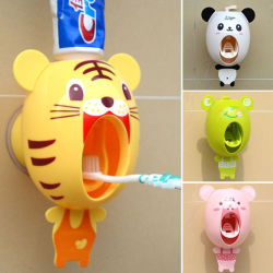 Holder Toothbrush Toothpaste Mount Wall Stand Dispenser 5 Automatic Set Vintage