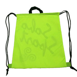Fluorescent Green Polyester Sport Drawstring Backpack Bag with Handle