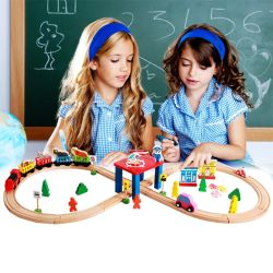 2016 Wholesale Baby Wooden Train Tracks, Electric Kids Wooden Train Tracks, 55 Pieces Children Wooden Train Tracks W04c056