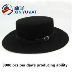 Factory Popular Custom Design Wool Felt Flat-Top Hat d14fb9c6612d