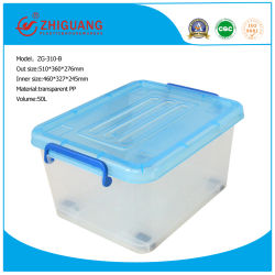 Top Quality Plastic Products 50L Plastic Storage Box Food Container Gift Box Packing Box with Handles and Wheels