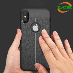 Shockproof Lichee Pattern Soft Leather Case for iPhone X