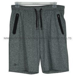Men's Sport Short in Knit Polyester/Elastane Melange Color with Water Proof Zippers