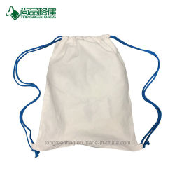 Promotional 100% Natural Cotton Calico Drawstring Sports Pack Bag