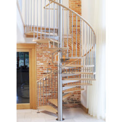 Solid Wooden Indoor Prefabricated Stairs Spiral Staircase
