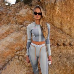 2020 Hot Sale Active Wear Gym Workout World Print Fitness Women Sports Yoga Bra Legging Set