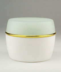 Cosmetic Jars White with Colorful Caps
