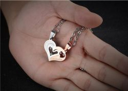 316L Stainless Steel Crystal Pendants Necklace Half Heart Shaped Couple Lover Necklace for Lovers Couples Gifts