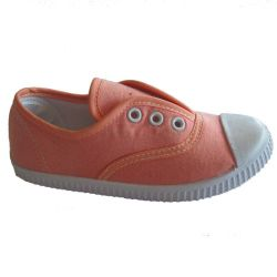 Wholesale Super Cute Lace-up Plain Orange Canvas Flats Kid Shoe