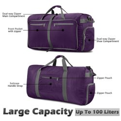 Foldable Travel Duffel Bag for Luggage Gym Sports Lightweight Travel Bag with Big Capacity Water